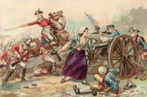 Illustration depicting American widow Mary Ludwig Hays McCauley (1754 - 1832), nicknamed 'Molly Pitcher,' stoking a cannon for the US Pennsylvania artillery in the Battle of Monmouth, during the American Revolutionary War, Freehold, New Jersey, June 1778. She replaced her fallen husband John Hays as a cannon loader. (Photo by Kean Collection/Getty Images)
