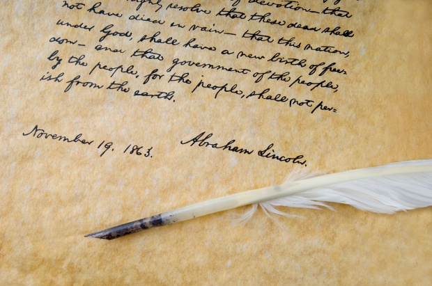 Photo of Lincoln's Gettysburg Address and Feather Quill